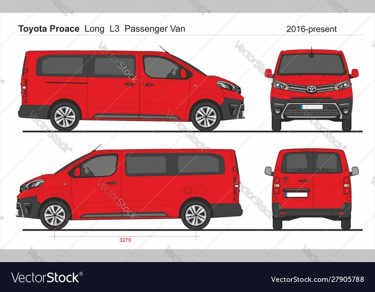 Toyota proace passenger long van l3 2016present vector