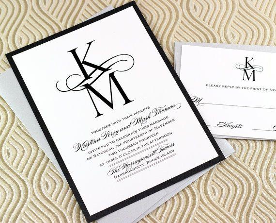 21 Best Images About Monogram Wedding Invitations On Pinterest Envelope Lin
