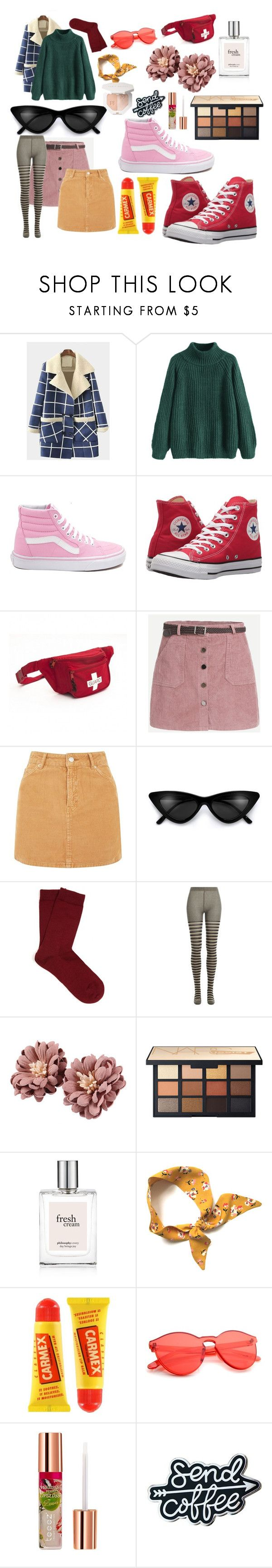 """okay, picture this: it's 2019, all of the girls in your local Value Village™ wears this exact outfit. everyone is happy and smiling. you are content."" by emmatheriot ❤ liked on Polyvore featuring Vans, Converse, Topshop, Falke, Sonia Rykiel, Carmex and Teeez"