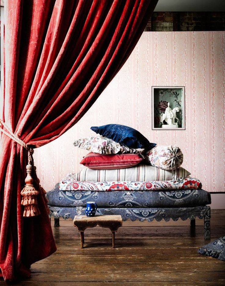 Traditional Living Room with Single Red Velvet Curtain