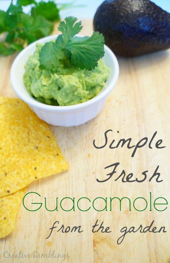 Garden Fresh Guacamole ~ Such a lovely, easy recipe featuring, lime, garlic and fresh cilantro! Yum! ~ from Creative Ramblings