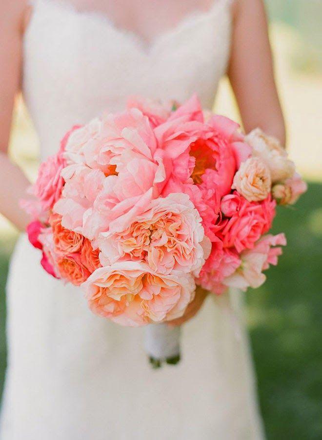ramo de novia con Peonías fuscia y naranja