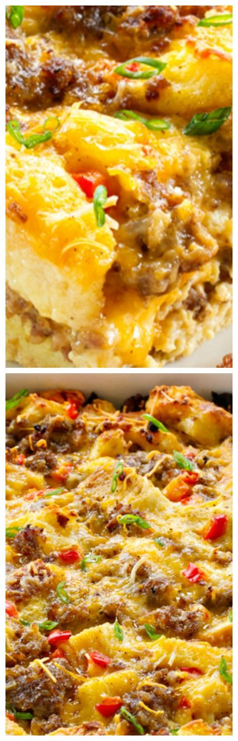 Make-Ahead Breakfast Casserole ~ Loaded with sausage, cheese and eggs... Assemble it the night before for a simple, delicious breakfast in no time! Perfect for holidays!