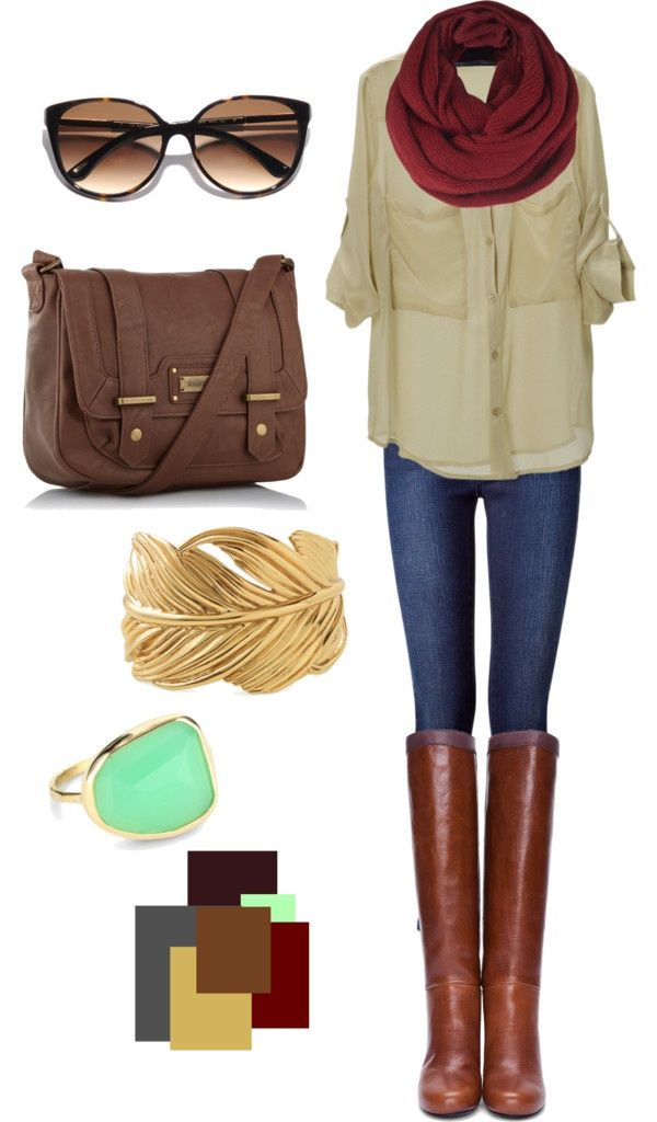 Like the neutral top with the berry scarf.  And that bag totally reminds me of the one I just got today!! ;)