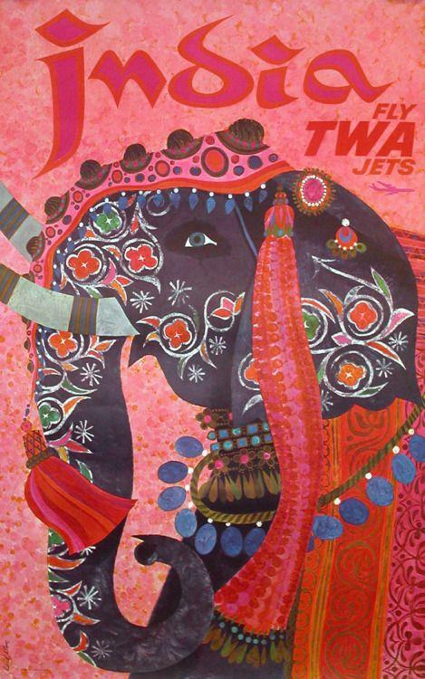 "design-is-fine: "" David Klein, artwork for TWA travel poster India, 1965. """
