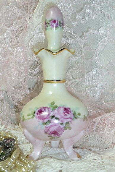 Shabby Romantic Vintage Cottage Chic perfume bottle with pink roses hand painted porcelain by VintagePorcelainArt, via Flickr