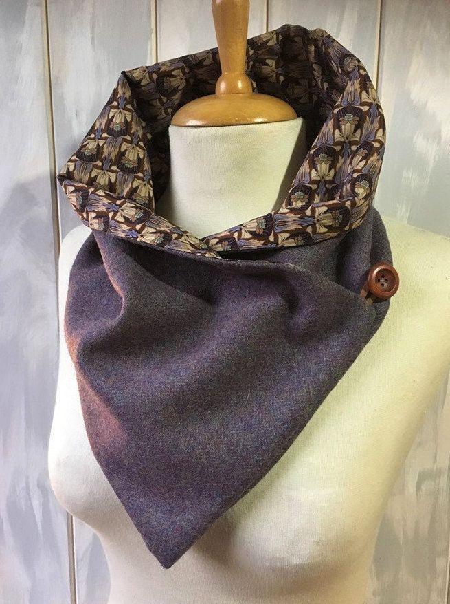 Cotton Fleece Lining Black//Grey Herringbone Handmade Harris Tweed Neckwarmer