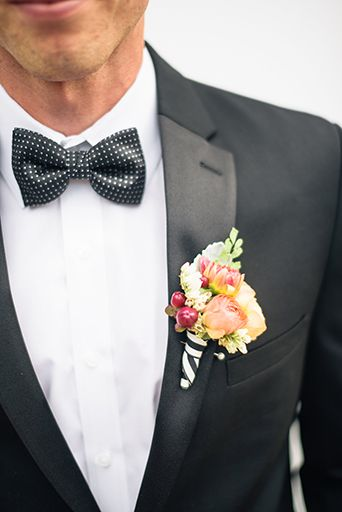 Richard Nixon Library Kate Spade Wedding Groom Wearing A Black Notch Tuxedo With A Colorful