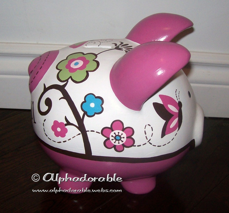 "Custom, hand painted ceramic personalized piggy bank Cocalo Taffy design Large 8.5"". $70.00, via Etsy."