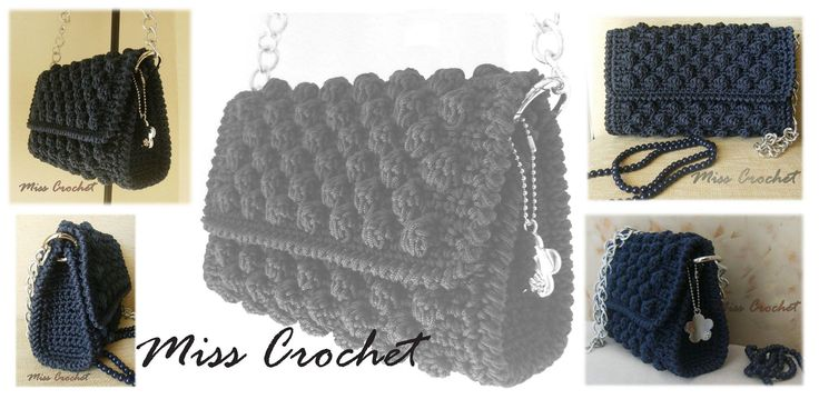 Crochet bag in navy blue!