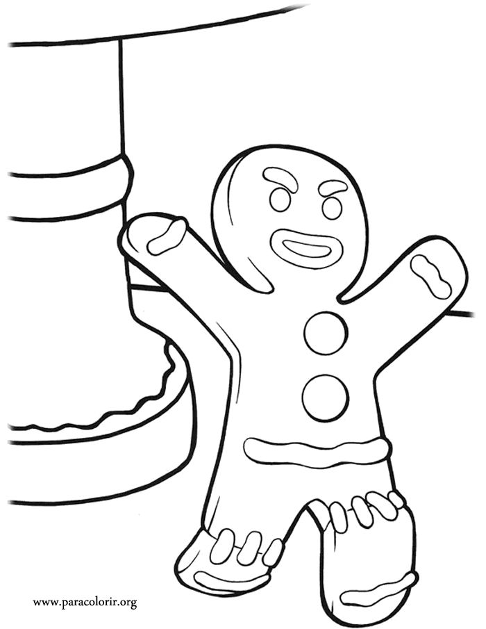 """Have fun coloring another character from the movie Shrek: The Gingerbread Man  also known as """"Gingy""""!"""
