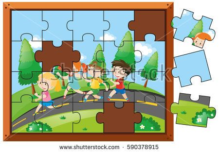Jigsaw puzzle game with kids walking in park illustration