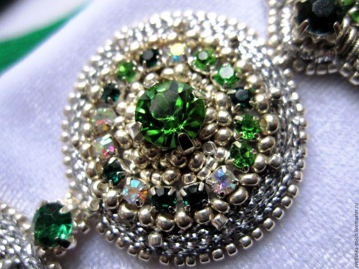 """Купить Браслет изумрудно-серебристый """"Венецианские зеркала"""" - зеленый, изумрудный, изумрудно-зеленый, бледно-зеленый"""