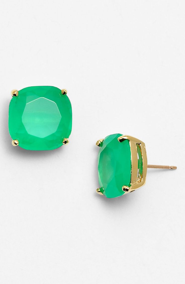 Such pretty green stud earrings for St. Patrick's Day | Kate Spade.