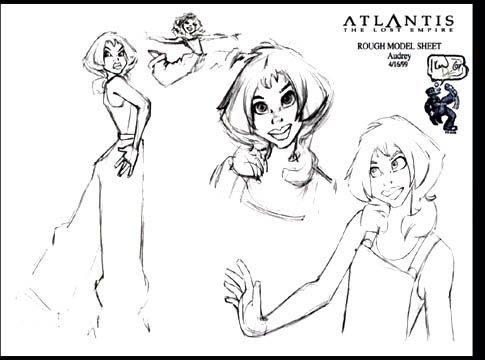 atlantis: the lost empire rough character concept - audrey • Art of © Walt Disney Animation Studios ★ || Website | (www.disneyanimation.com) • Please support the artists and studios featured here by buying their works from their official online store (www.disneystore.com) • Find more artists at www.facebook.com/CharacterDesignReferences  and www.pinterest.com/characterdesigh || ★