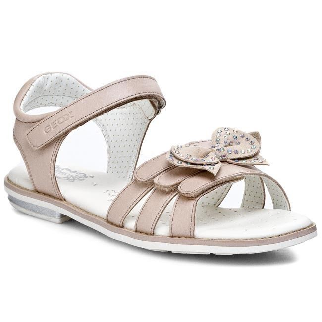 New Geox Sand Giglio C Girls Beige Spring / Summer Sandals Velcro Size 27 - 35