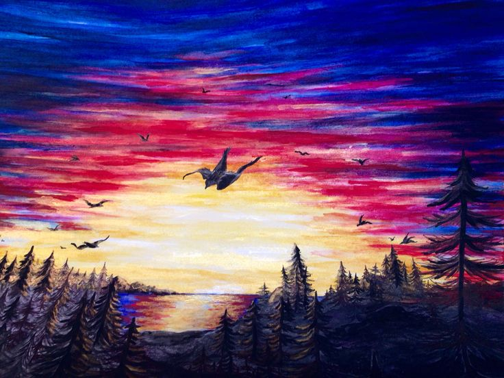 Sunset drawing by Katie Pie Kards by Kelly Hardisty 2015.