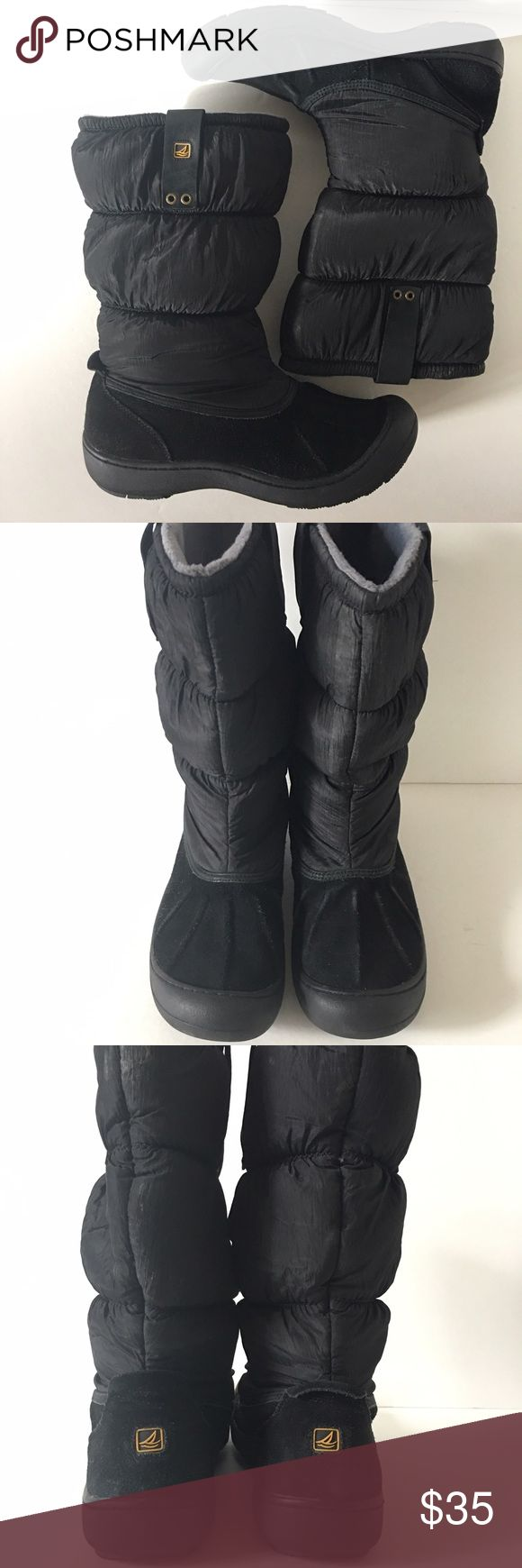 Sperry top sider snow boots In good used condition. Leather part has a little fading, see pictures. Will be cleaned before shipping. Sperry Top-Sider Shoes Winter & Rain Boots