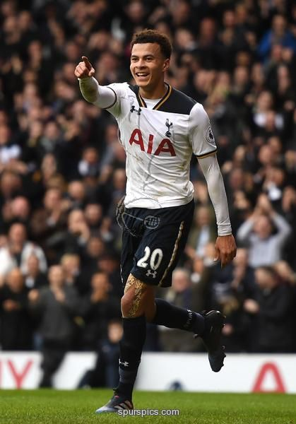 LONDON, ENGLAND - FEBRUARY 26: Dele Alli of Tottenham Hotspur celebrates scoring his teams fourth goal during the Premier League match between Tottenham Hotspur and Stoke City at White Hart Lane on February 26, 2017 in London, England