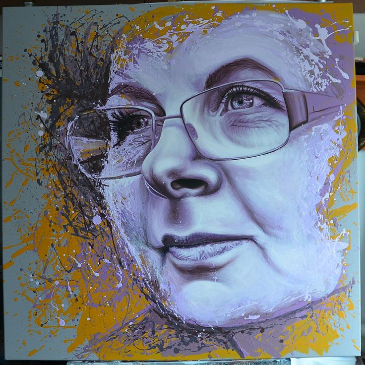 PAINTED PORTAIT 90X90 CM