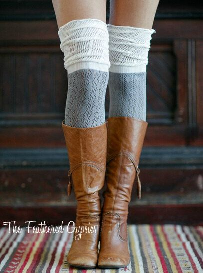 Two Toned Thigh High Socks Knee High Socks by TheFeatheredGypsies