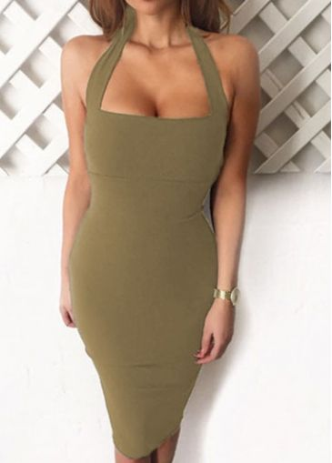 Army Green Halter Neck Bodycon Dress with cheap wholesale price, buy Army Green Halter Neck Bodycon Dress at rotita.com !