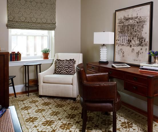 Neutral Home Office With Painted Brick Walls : Designers' Portfolio : HGTV - Home & Garden Television