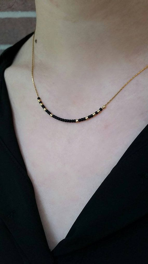 Matte Black Necklace Minimal Necklace Bead Necklace Dainty
