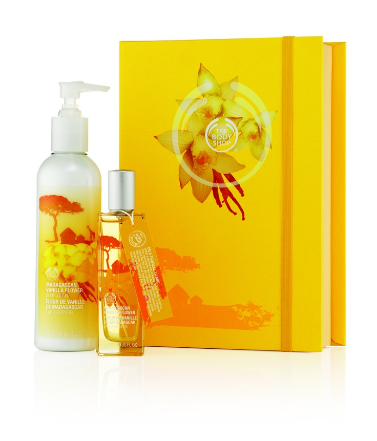 Madagascan Vanilla Flower Book RRP $64.95 #Thebodyshop    A premium set of Madagascan Vanilla Flower fragrance products in a pretty keepsake box. Including a full size Madagascan Vanilla Flower Eau de Toilette, an oriental gourmand delight with notes of amber, frangipani and vanilla from Madagascar.