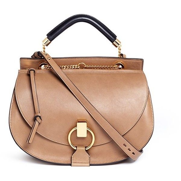 Chloé 'Goldie' medium suede trim leather satchel (€2.145) ❤ liked on Polyvore featuring bags, handbags, purses, brown, brown leather satchel, leather satchel handbags, brown satchel purse, leather satchel purse and chain strap purse