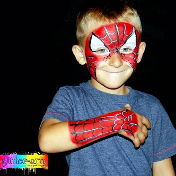 Boys Face Painting - Spiderman By Glitter-Arty Face Painting, Bedford, Bedfordshire