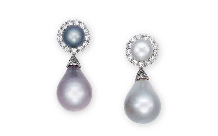 Lot 2064: A pair of magnificent natural pearl and diamond ear pendants