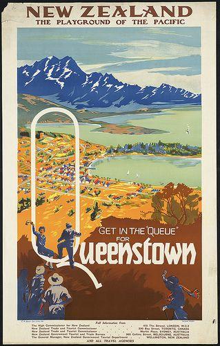 "Poster Get in the ""queue"" for Queenstown. New Zealand  #travel"