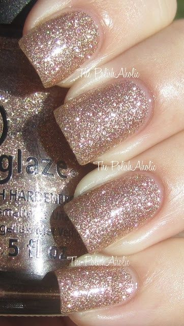 champagne glitter polish- new years