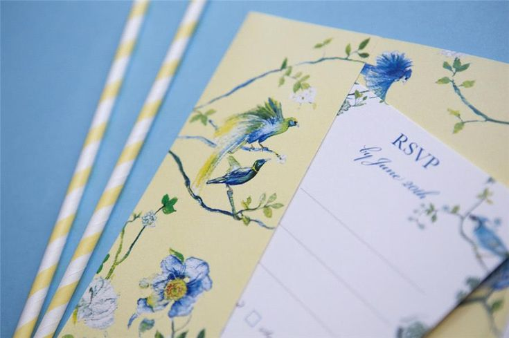 Louise & Chris bespoke chinoiserie pocketfold wedding invitation with yellow and blue florals