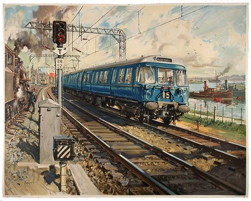 CUNEO, Terence (1907-1996). Glasgow Electric.  Original lithograph in colours, linen backed, published by British Railways and printed by Waterlow & Sons limited, London and Dunstable, c.1960. #railway