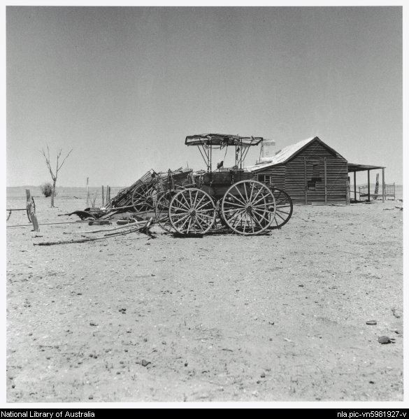 Nolan, Sidney, Sir, 1917-1992. Abandoned cottage and old buggies, Queensland, 1952 [picture]