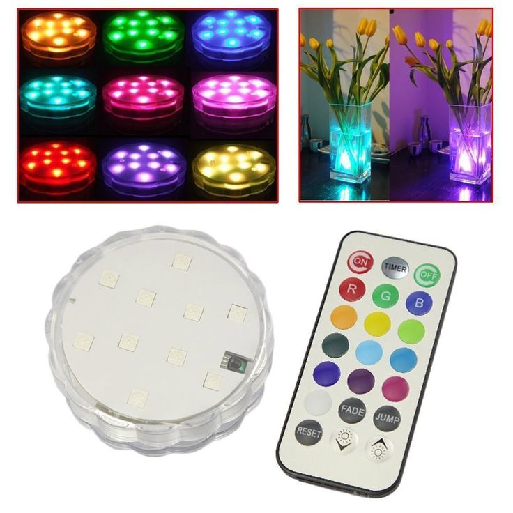 10-LED RGB Submersible LED Light, Multi Color Waterproof Wedding Party Vase Base