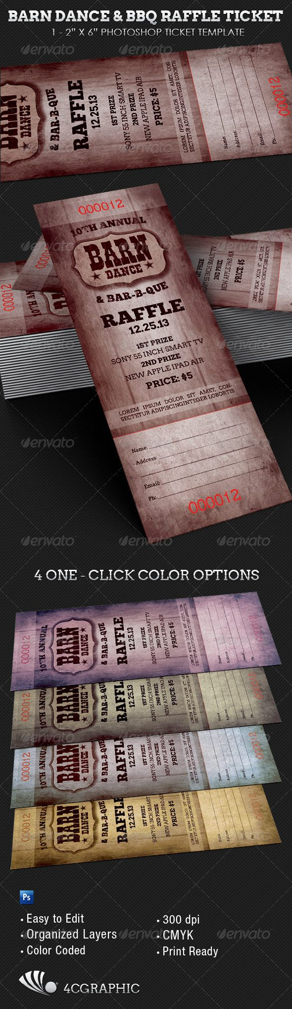 The Barn Dance & BBQ Raffle Ticket Template - Events Flyers