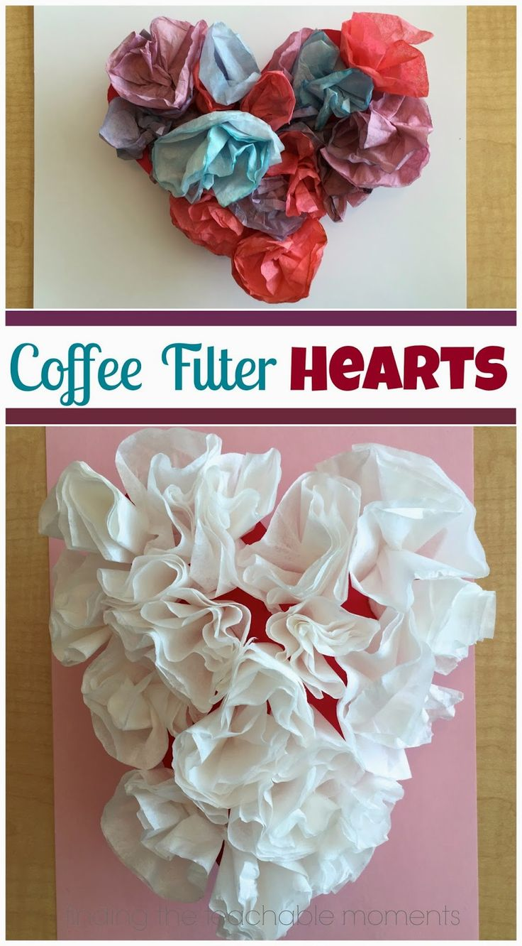 Coffee Filter Hearts:  Simple, no glue, and fantastic fine motor exercise! Only takes minutes to set up and complete.