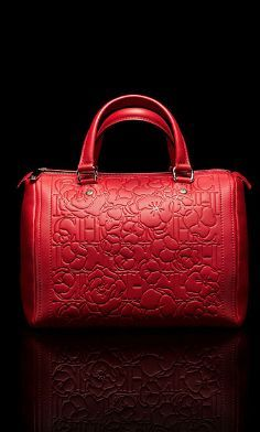 Lady in Red: CH Carolina Herrera red leather embossed 'Andy' bag