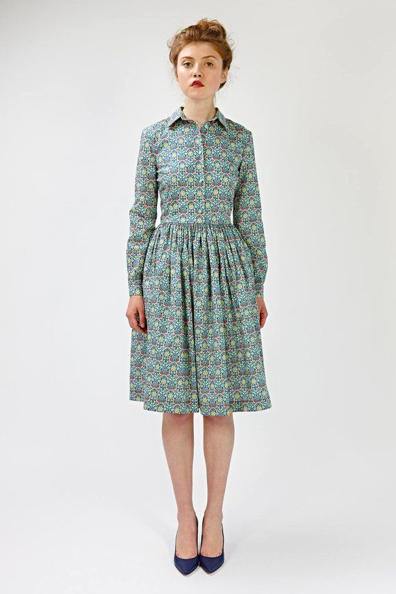 61a59d6fe3 Long sleeve bridesmaid dress Long sleeve floral dress Wedding guest dress  1950s dress Fit and flare Dress with pockets Belted dress