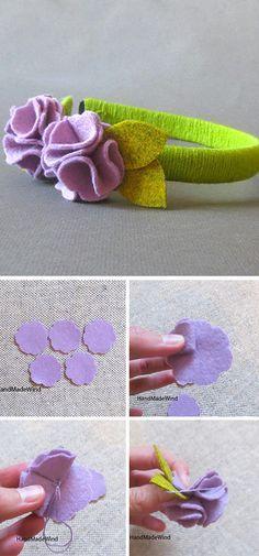 Simple felt flower DIY   Мастерим цветок из фетра, идеальный для детского ободка