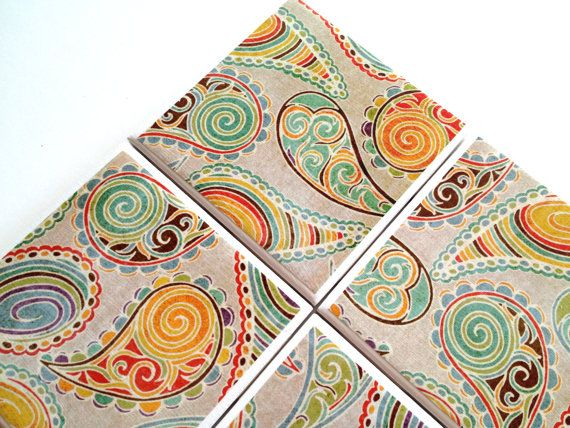 Paisley Coasters Table Ceramic Tiles Persian Pickles