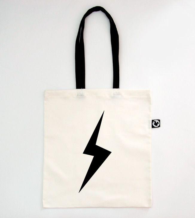 Lightning Tote Bag. Black Straps.   #totebags #screen #printed #handmade #serigrafia #diseño #relampago #fulmine #lightning #shopping #shopper #goodie #bag