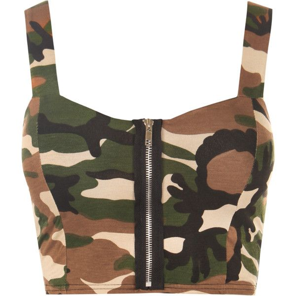 Camouflage Sleeveless Bralet ($17) ❤ liked on Polyvore featuring tops, green, army top, zipper top, sleeveless tops, zip top and green sleeveless top