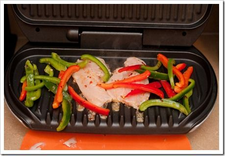 Grilled Tilapia and Peppers on a George Foreman grill [another idea for the tilapia in my freezer...]