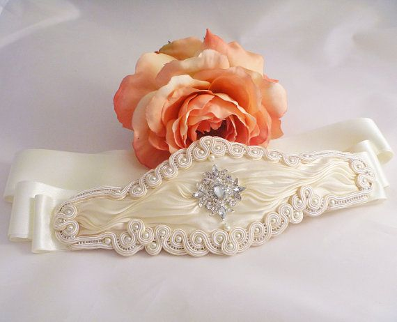 Bridal belt. Brides accessory. Soutache and by MollyGDesigns