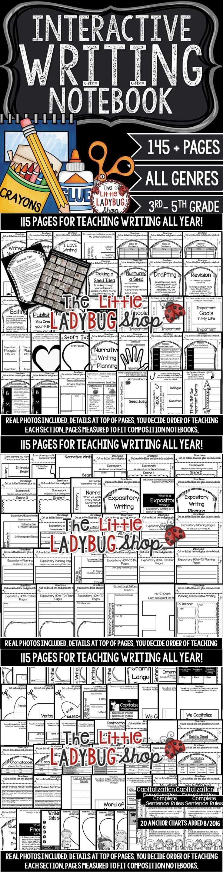 WRITING INTERACTIVE NOTEBOOKS are an EXCITING way to teach Writing! This notebook is VERY detailed and includes components to a Balanced ELA Writers Workshop! I created this notebook with activities that I used to build a strong foundation and a LOVE for