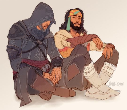 Tired assassins. Ezio Auditore & Yusuf. Assassin's Creed Revelations.